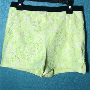 Neon yellow & white flower lace shorts